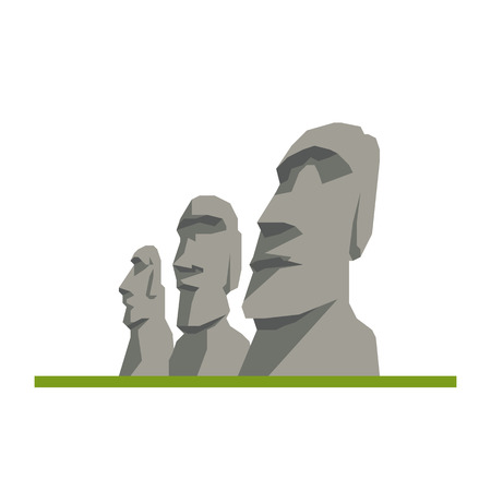 Flat design isolated vector icon of Moai heads, Easter Islands, Chile