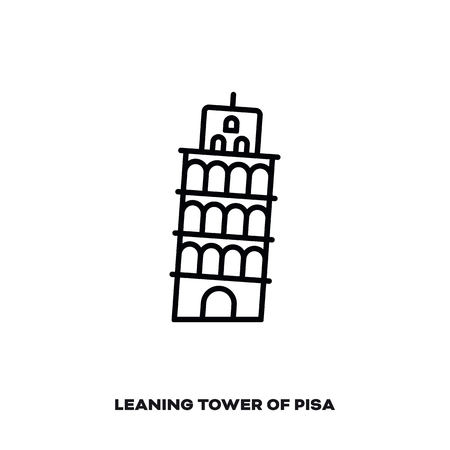 Leaning Tower of Pisa, Italy, vector line icon. International landmark and tourism symbol. Ilustrace