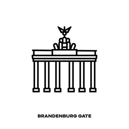 Brandenburg Gate at Berlin, Germany, vector line icon. International landmark and tourism symbol.