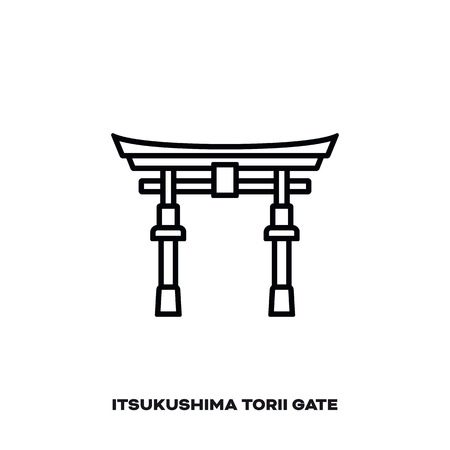 Torii Gate of Itsukushima shrine, Miyajima, Hiroshima, Japan, vector line icon. International landmark and tourism symbol.
