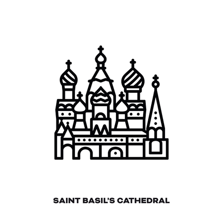Saint Basil's Cathedral at Moscow, Russia, vector line icon. International landmark and tourism symbol. Фото со стока - 117795126