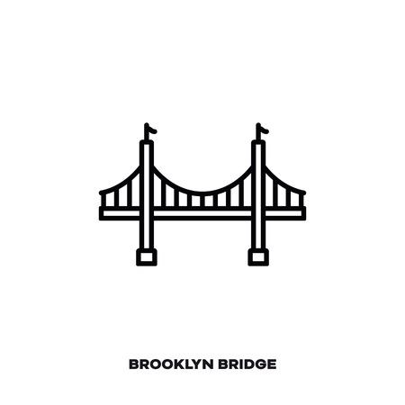Brooklyn Bridge At New York City, United States of America, vector line icon. International landmark and tourism symbol.
