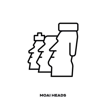Moai Heads at Ranu Raraku, Easter Islands,  Chile, vector line icon. International landmark and tourism symbol.