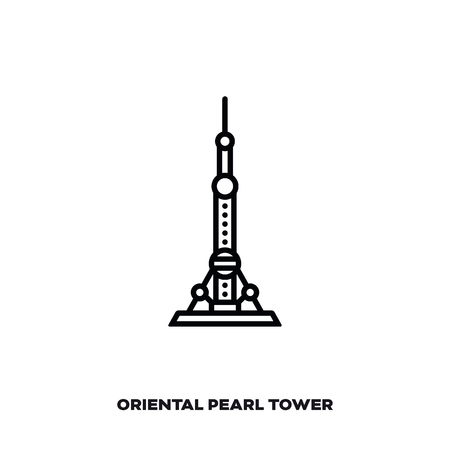 Oriental Pearl Tower at Shanghai, China vector line icon. International landmark and tourism symbol.