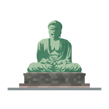 Flat design isolated vector icon of Great Buddha statue at Kamakura, Japan  イラスト・ベクター素材