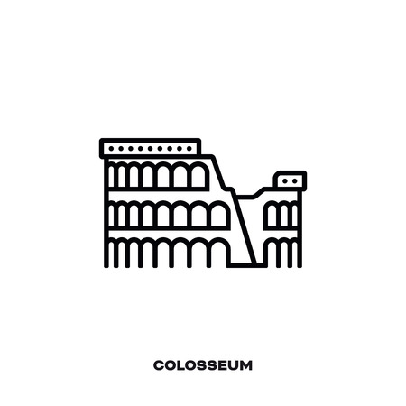 Colosseum at Rome, Italy, vector line icon. International landmark and tourism symbol.