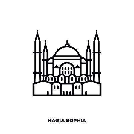 Hagia Sophia at Istanbul, Turkey, vector line icon. International landmark and tourism symbol.