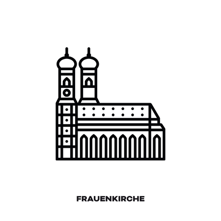 Frauenkirche church at Munich, Bavaria, Germany, vector line icon. International landmark and tourism symbol.