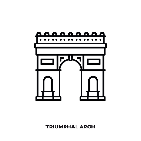 Triumphal Arch at Paris, France, vector line icon. International landmark and tourism symbol.