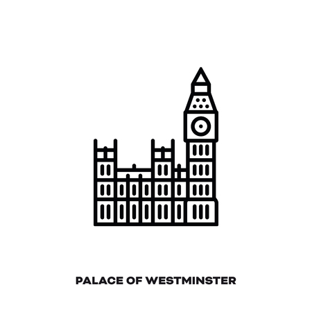 Palace of Westminster and Big Ben bell tower at London, England, United Kingdom, vector line icon. International landmark and tourism symbol.