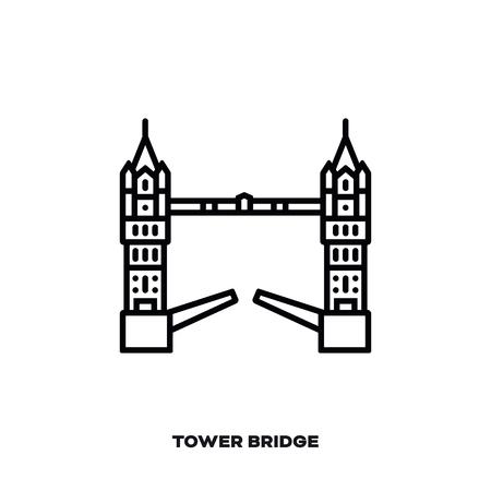 Tower Bridge à Londres, Angleterre, Royaume-Uni icône de la ligne du vecteur. Symbole international de point de repère et de tourisme. Vecteurs