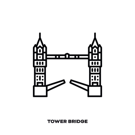 Tower Bridge at London, England, United Kingdom vector line icon. International landmark and tourism symbol. Vectores