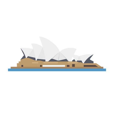 Flat design isolated vector icon of Sydney Opera House