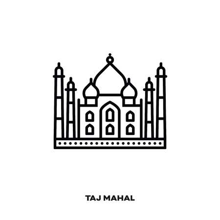 Taj Mahal, Agra, Uttar Pradesh, India, vector line icon. International landmark and tourism symbol. Illustration