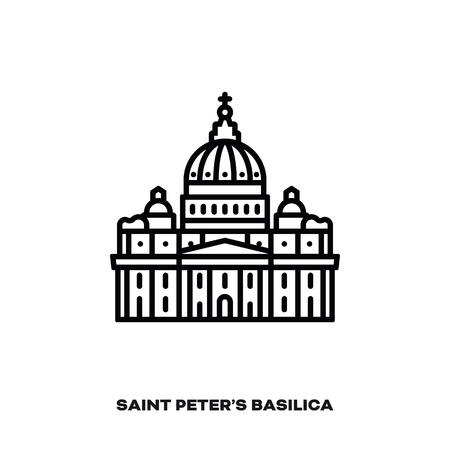 Basilica di San Pietro a Città del Vaticano, Roma, Italia, icona della linea del vettore. Punto di riferimento internazionale e simbolo del turismo. Vettoriali