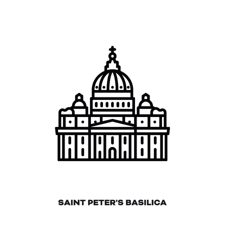 Saint Peter's Basilica at Vatican City, Rome, Italy, vector line icon. International landmark and tourism symbol. Ilustração