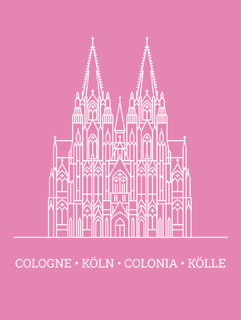 Line icon style vector illustration of Cologne Cathedral, white on pink background, multilingual text below Stock fotó - 125330940