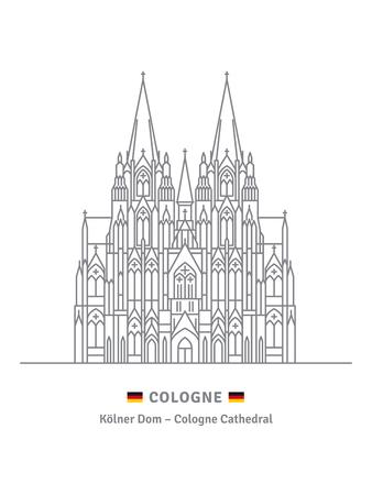 Ilustración de vector de estilo de icono de línea de la Catedral de Colonia sobre fondo blanco