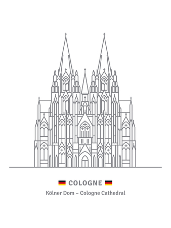 Line icon style vector illustration of Cologne Cathedral on white background Çizim