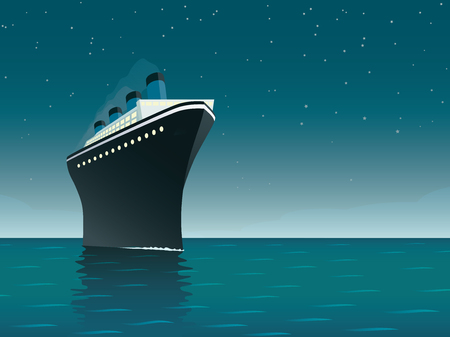 Vintage style horizontal vector illustration of giant cruise ship on the ocean at starry night 向量圖像