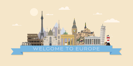 Welcome to Europe travel banner flat design vector illustration with european landmarks