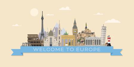 Willkommen in der flachen Design-Vektorillustration der Europa-Reisefahne mit europäischen Sehenswürdigkeiten Vektorgrafik