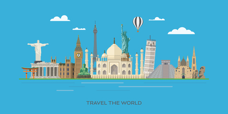Travelling to world famous landmarks vector banner illustration Illustration