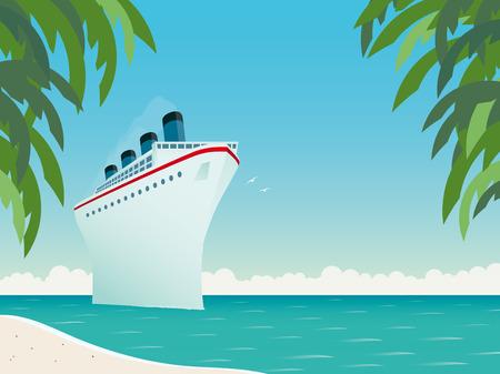 Vintage style horizontal vector illustration of giant cruise ship near tropical island Illustration