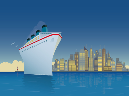 Vintage style horizontal vector illustration of giant cruise ship with big city skyline in background Illustration