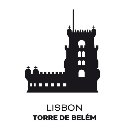 Belem Tower at Lisbon, Portugal,  silhouette vector illustration Иллюстрация