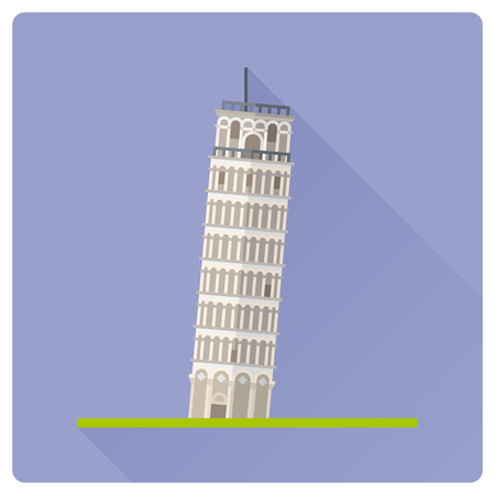 Flat design long shadow icon of Leaning Tower of Pisa, Italy Ilustrace