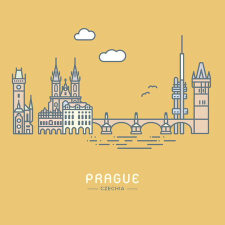 Pastel colored Line Icon style Prague cityscape and landmarks flat vector illustration