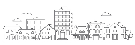 Small town neighborhood line art vector