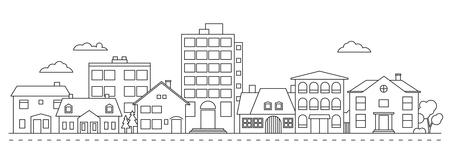 Vector de arte de línea de barrio de pueblo pequeño Ilustración de vector