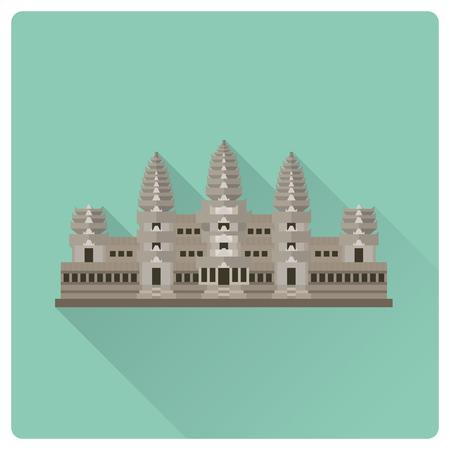 Flat design Angkor Wat temple complex flat design long shadow icon Illustration