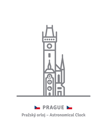 Czechia landmark line icon. Astronomicla clock at old Town Hall and Czech flag vector illustration.