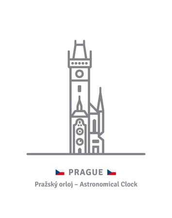 Tschechien Wahrzeichen Symbol Leitung. Astronomicla Uhr am alten Rathaus und tschechische Flagge Vector Illustration. Vektorgrafik