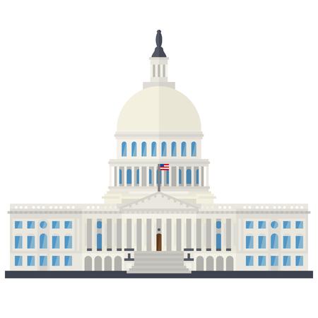 El edificio del Capitolio en Washington, DC, Estados Unidos, diseño plano aislado ilustración vectorial