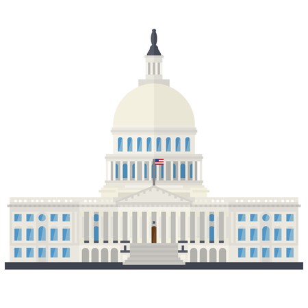 The Capitol building at Washington, D.C., USA, flat design isolated vector illustration Çizim