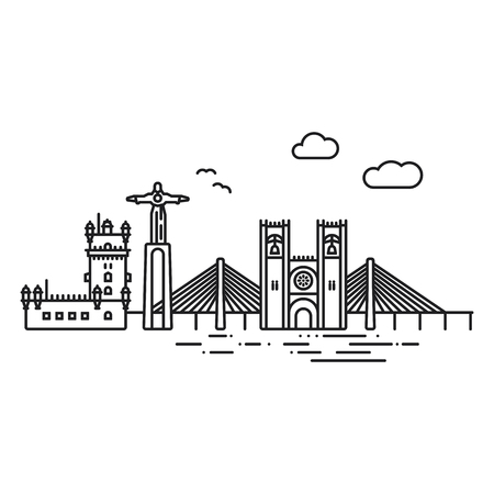 Line Icon style Lisbon cityscape and landmarks flat vector illustration Illustration