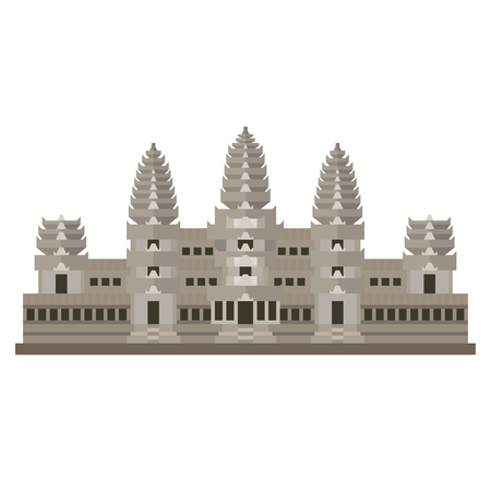 Flat design isolated vector icon of Angkor Wat temple, Siem Reap, Camodia Çizim