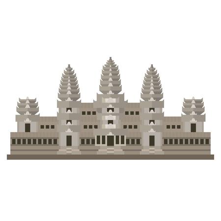 Icône vecteur isolé design plat du temple d'Angkor Wat, Siem Reap, Camodia