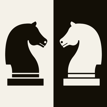 Ebony and Ivory chess knights vector illustration