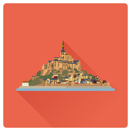 Flat design long shadow vector icon of Le Mont-Saint-Michel, island, village and monastery off the French Normandy coast.