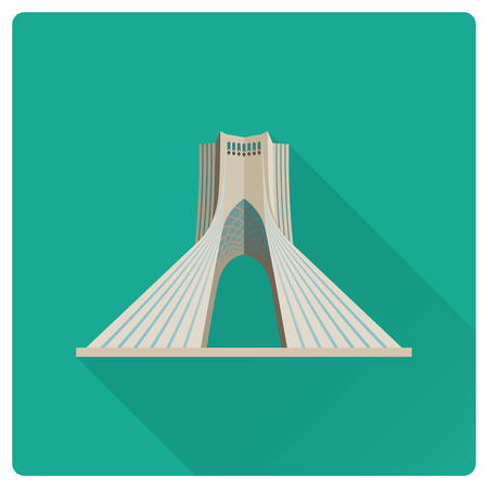 Flat design long shadow icon of Azadi Tower at Tehran, Iran