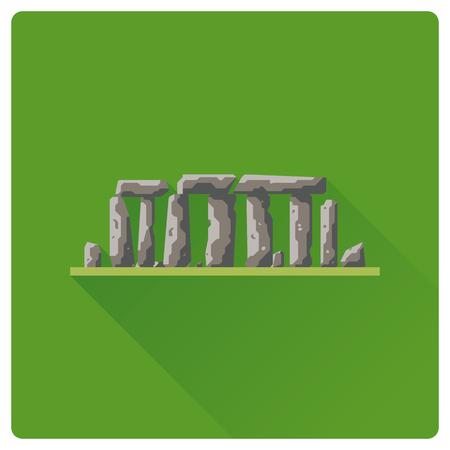 Diseño plano Stonehenge sitio prehistórico diseño plano larga sombra icono Ilustración de vector