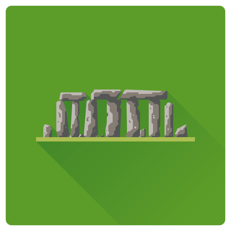 Flat design Stonehenge prehistoric site flat design long shadow icon 矢量图像