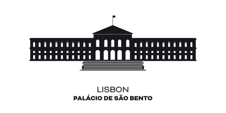 Assembly of the Nation building, Sao Bento Palace at Lisbon, Portugal. Silhouette vector illustration
