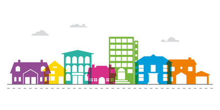Colorful smalltown main street neighborhood vector illustration