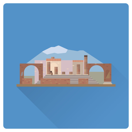 Flat design long shadow vector icon of Pompeii ruins and Mount Vesuvius at Italy